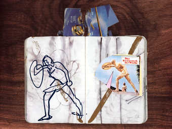 A image of an open sketch book on a wood veneer ground.  In the sketch book is a collage image of...