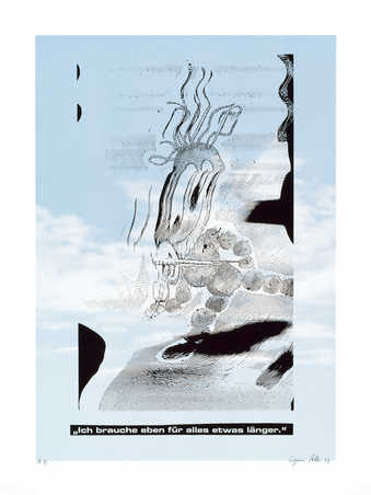 An image of a distorted cartoon-like figure with text across bottom.