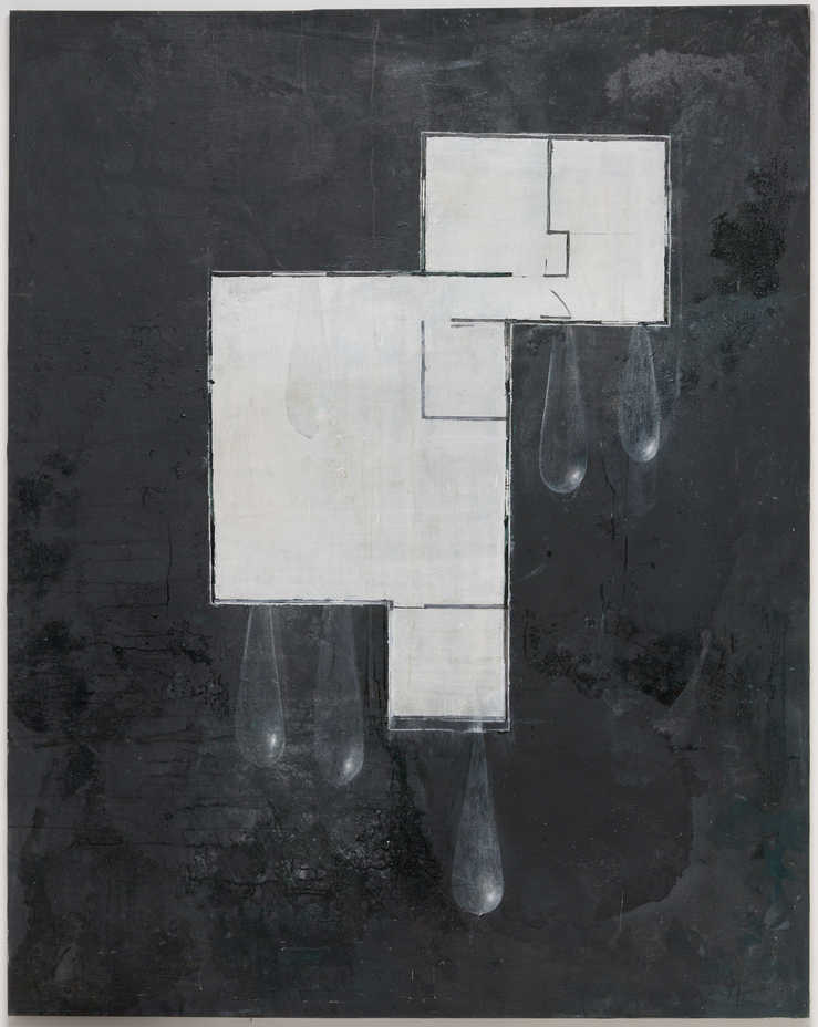 A ground plan for a house painted in white modeled gray ground.  Large tear drops hang from...