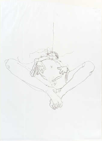 A figurative drawing of a nude female lying on her back with her legs spread.