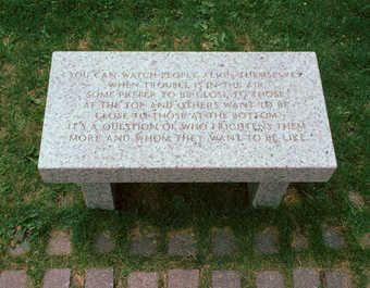 bench with engraving on the seat
