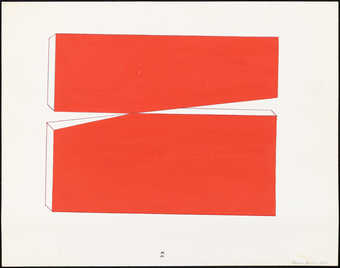 A red geometric study for a sculpture.