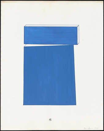 A blue geometric study for a sculpture.