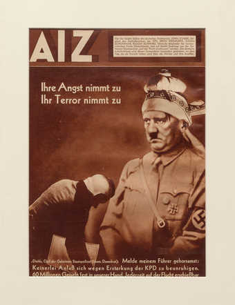 An image of Adolph Hitler with a bandaged head, used on the cover of the periodical AIZ.