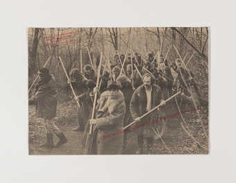 black, white and red print, depicting beuys and participants of an environmental protection action