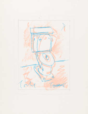 Proof, transfer lithograph. An image of a toilet.