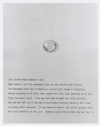 Photograph of a sheet of text telling about lost button from Roberta's coat.