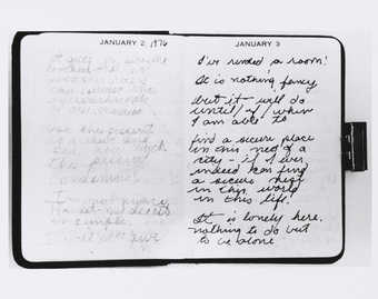 Photograph of open pages of Roberta's diary