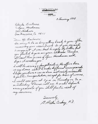 Photograph of letter to Roberta regarding making a doctor's appointment. From G. Austin...