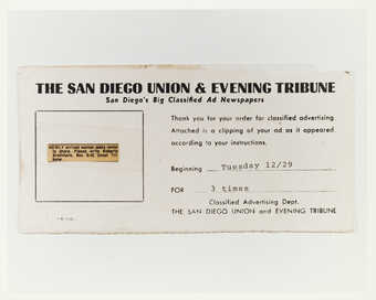 Photograph of receipt for ad placed in The San Diego Union & Evening Tribune for roommate.