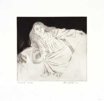 An image of a reclining woman, wearing a nightgown.