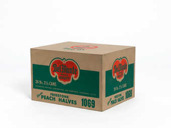 a wooden paint/printed grocery store carton of Del Monte Peach Halves