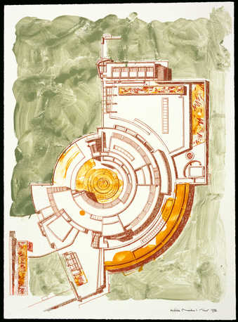 A floor plan rendering of the Getty, Los Angeles.
