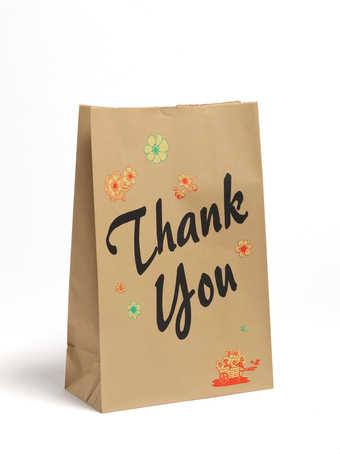 A five color three dimensional lithograph.  A print resembling a brown paper grocery bag.