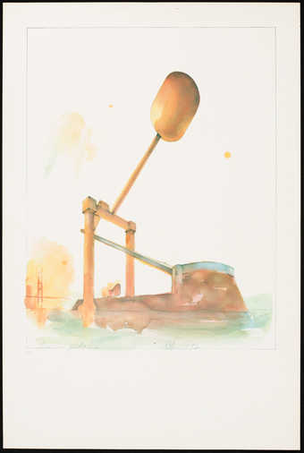 An image of a drum pedal in orange, blue and yellow.  Published on the occasion of...