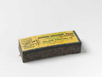 blackboard eraser with paper label
