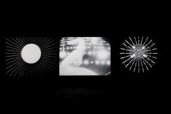 A three screen projection comprised of imagery from COSMIC RAY (1961) and EVE-RAY-FOREVER (1965)....