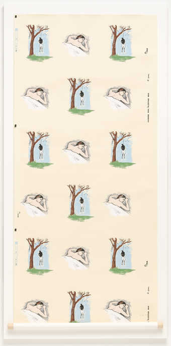 Repeated alternating images of a man sleeping and a man hanging from a tree.  In a grid of 3...