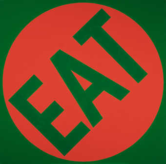 Eat: green field with red overlay. Red is circular with work EAT in negative allowing green to...