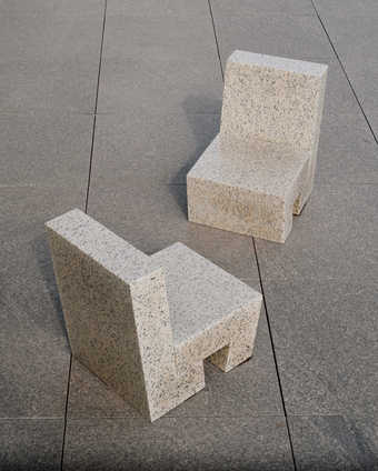 pink granite chairs