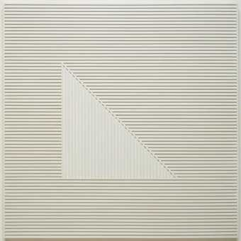 white wood panel with attached strips of wood that form a triangle shape
