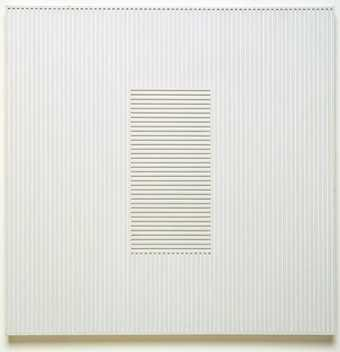 white wood panel with attached strips of wood that form a rectangle shape