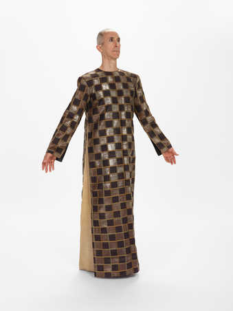CDF2-4COSTUMES: Plaid metallic silk floor-length tunic with grosgrain sides, black wool...
