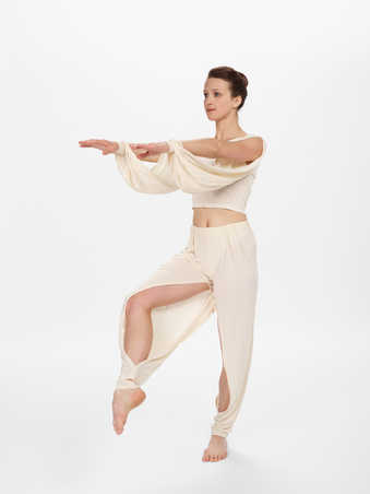 COSTUMES: Matte cream lightweight silk jersey shirts and pants. Women's shirts are long...