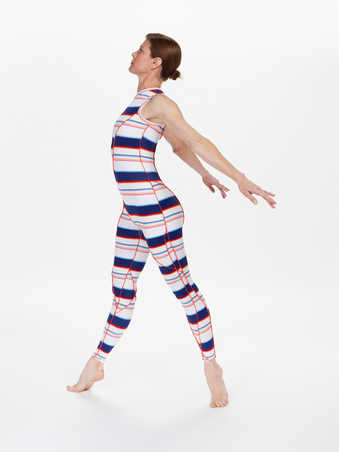 COSTUMES: Sleeveless lycra unitards stitched from multiple asymmetrical pieces with red/orange...