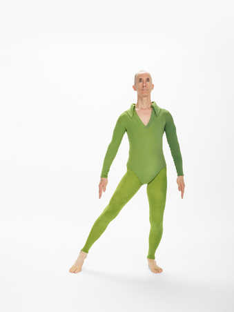 CDF3-6COSTUMES: Men's costumes are long sleeve leotards with collars and footless tights....