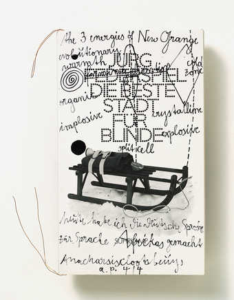 Book by Jürg Federspiel, book cover with handwritten artwork by Beuys, copper wire, stamped. The...