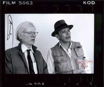 black and white photograph by Zoa depicting Beuys and Warhol.