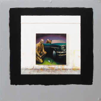 small foam core square at center of work. Painted on foam core is two men one crouching near the...