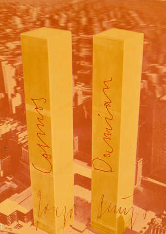 Reproduction of an American 3-D postcard (found on Beuys's first USA journey) of the World...