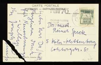 Old Swiss postcard with handwritten additions. Beuys wrote a message and mailed this card to...