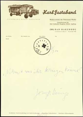 The idea for the print came during the permanent political office in documenta 5 at Kassel when...