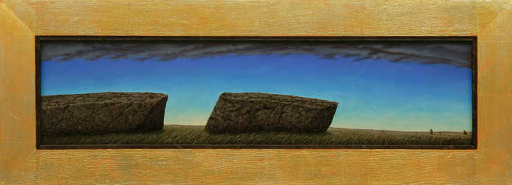two large stones, horizon in distance