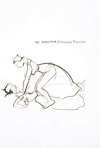 black ink drawing of one woman strangling another woman who is flat on the ground; text reads at...