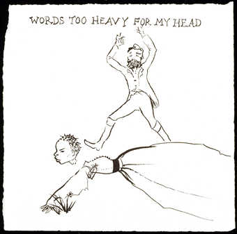 black ink drawing of a white man kicking the head of a black woman who is on the ground - her...