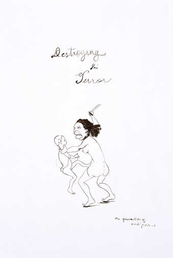 black ink drawing of a woman holding a child by the neck with a knife raised above the child;...