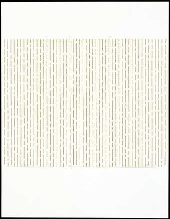 Rows of vertical typewritten lines on a sheet of paper that is attached to a standard 8-1/2 x...