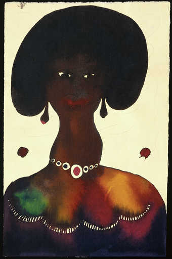 An image of a woman wearing a necklace and earrings.
