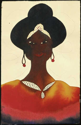 An image of a woman wearing a necklace, earrings, and a head band.