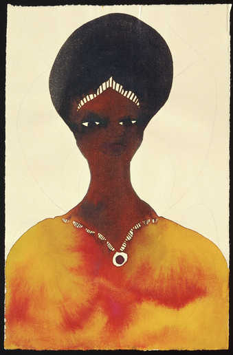 An image of a woman wearing a necklace and head band