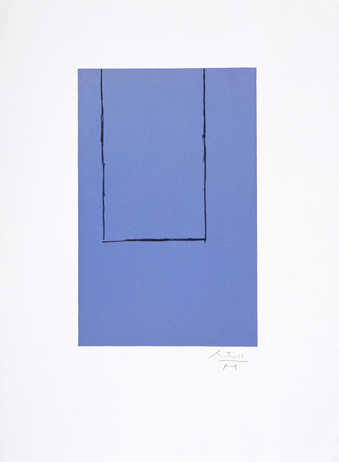 Proof; lithograph from two aluminum plates printed in blue