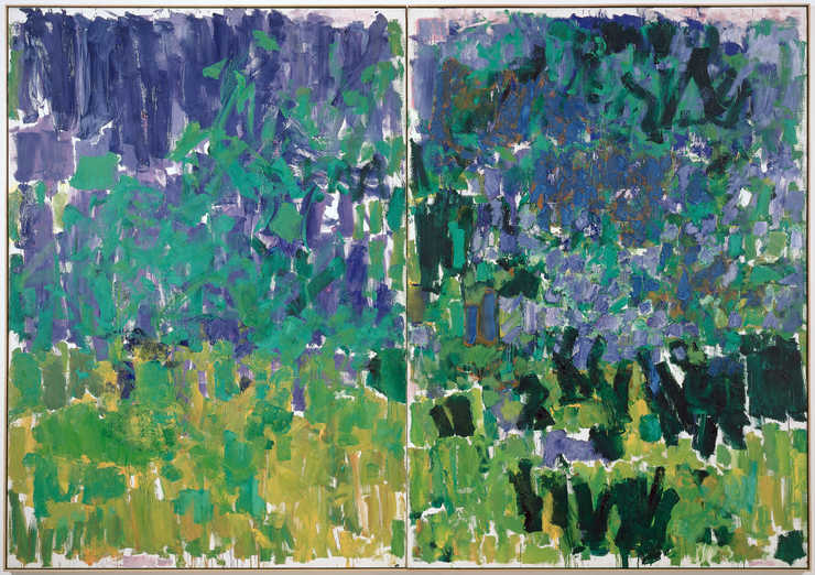 Green and Yellow vertical brushstrokes lower canvas moving to blue and blue green brushstrokes...