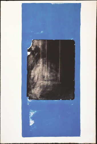 A lithograph printed from one stone one aluminum plate in black and blue