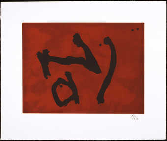An aquatint from two plates (zinc and copper) printed in burnt sienna; lift ground etching and...