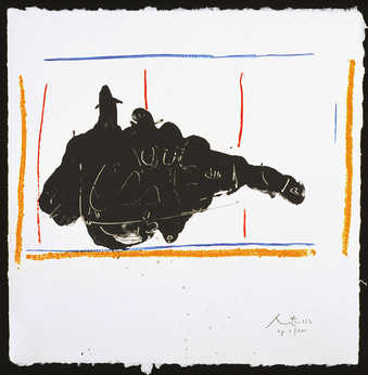 A lithograph from four aluminum plates printed in black, ochre, red, and blue.   This print is a...