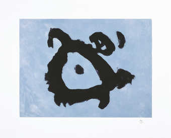 An aquatint form on copper plate printed in blue; carborundum line plate(copper) printed in black